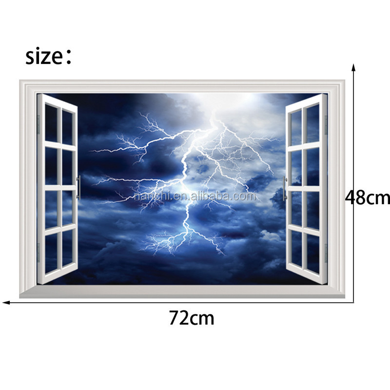 3D windows lightning wall decals for kids children room home decorative removable waterproof cheap wall stickers