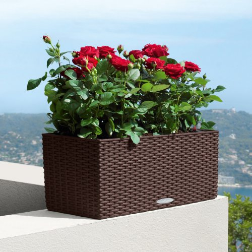 2017 Modern design outdoor cheap woven PE rattan planters pots large size plastic plant pot