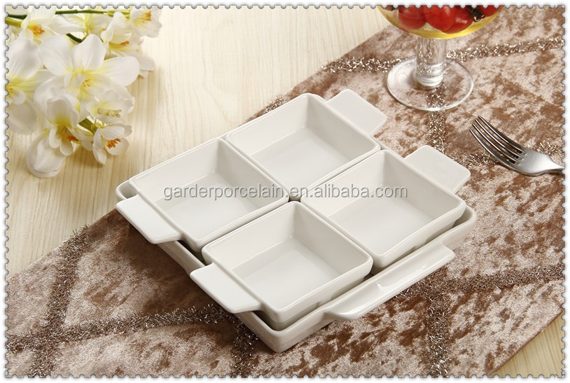 Restaurant small serving dishes / 4 compartment ceramic snack dish
