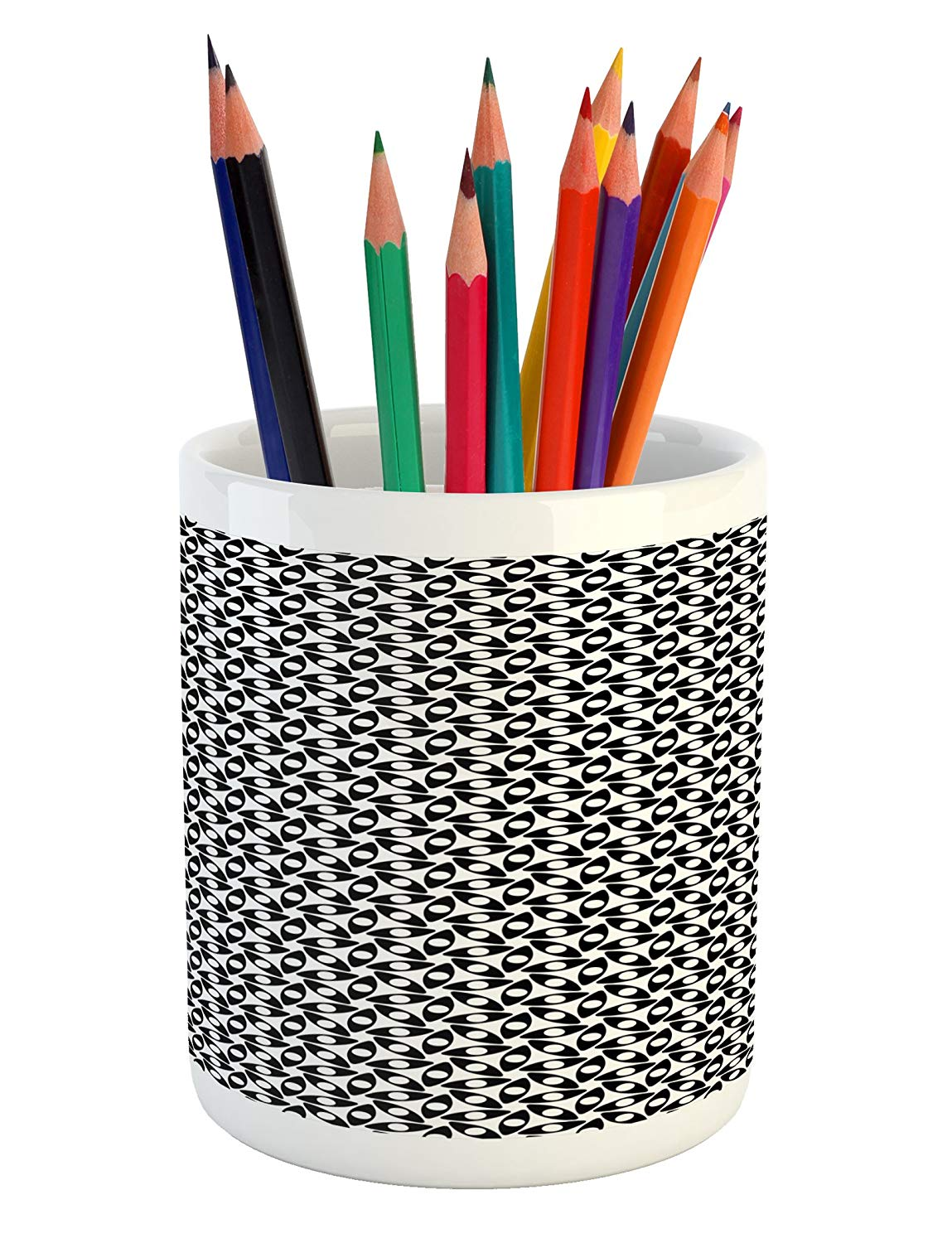 Lunarable Black and White Pencil Pen Holder, Monochrome Petals with Dots Floral Arrangement Blooming Summer Growth, Printed Ceramic Pencil Pen Holder for Desk Office Accessory, Black and White