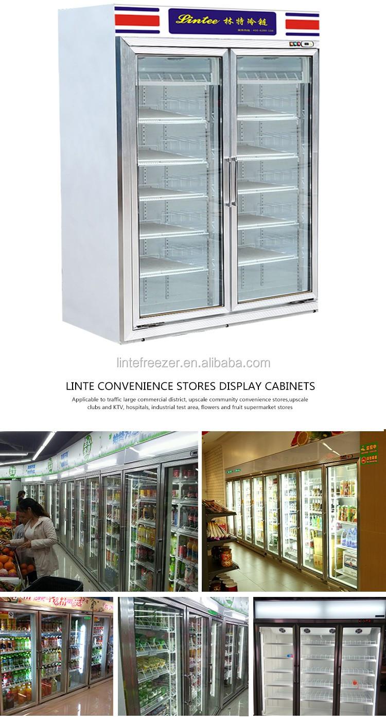 Anti Fog Glass Door Beverage Soft Drink Refrigerator