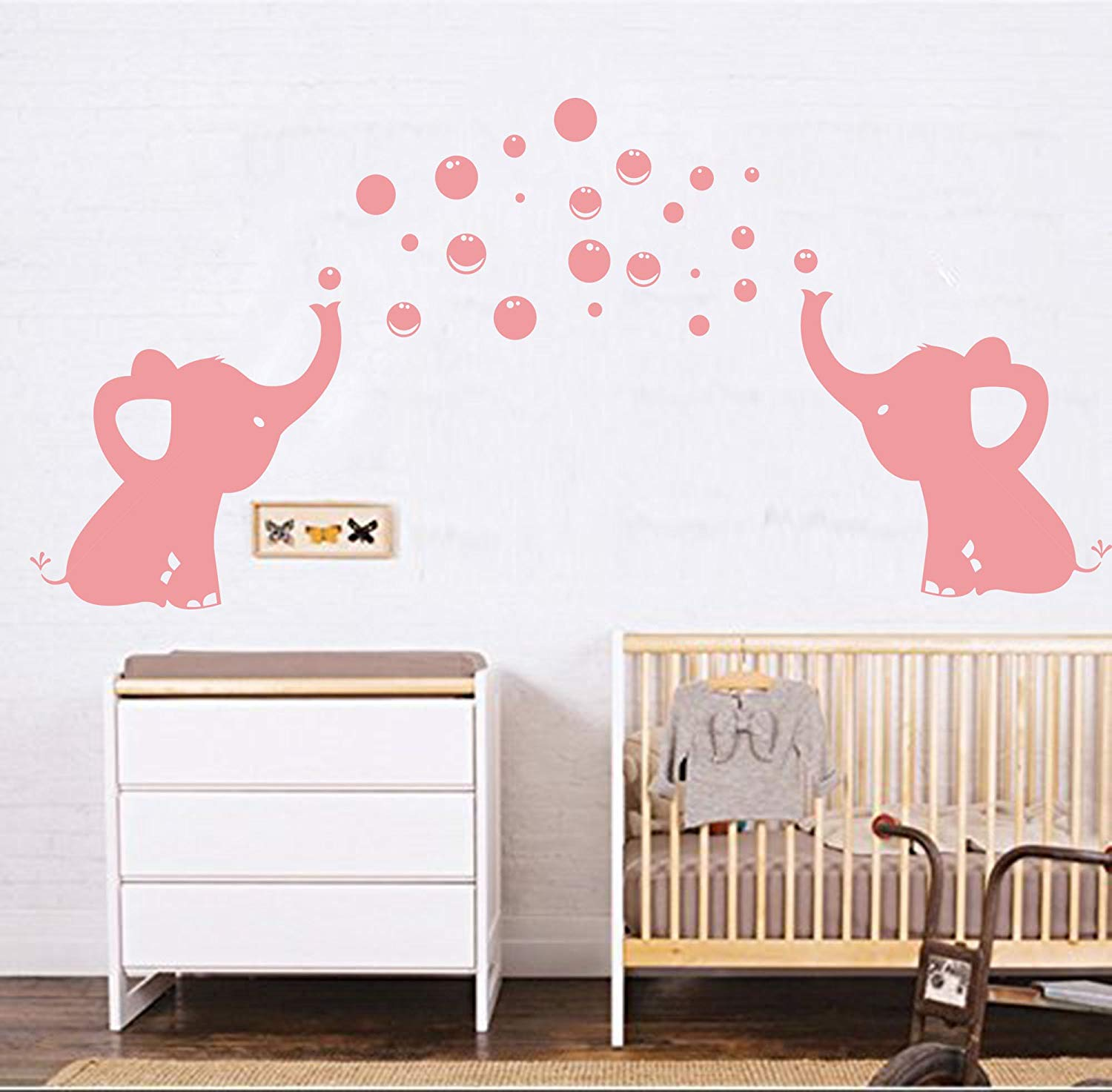Get quotations · luckkyy elephant family wall decal removable vinyl wall art elephant bubbles wall stickers baby nursery wall