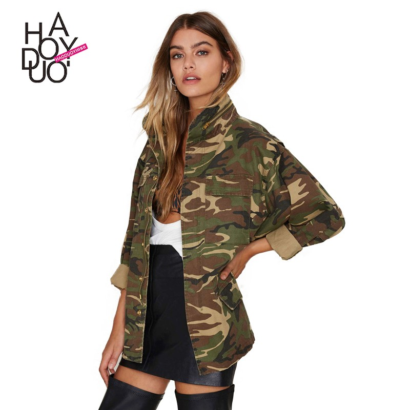 HAODUOYI Fashion Women Loose Camouflage Coat Stand Collar Pocket Long Sleeve Zipper Outwear Jacket for Wholesale