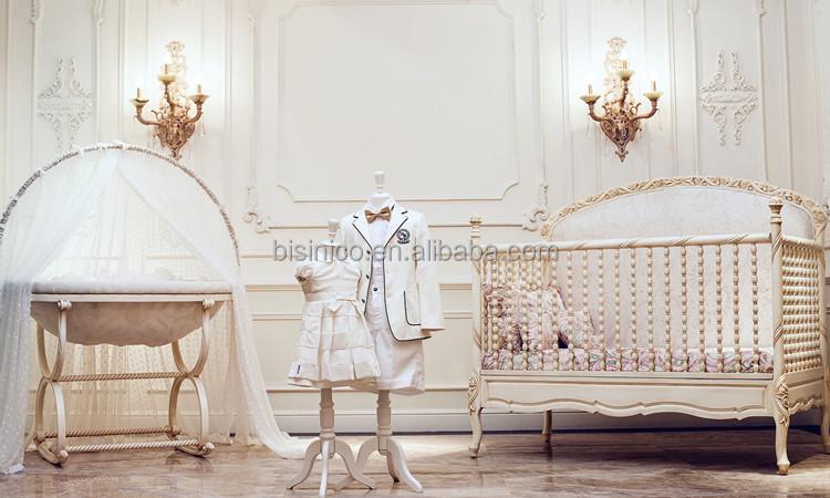 Victoria Estilo Tallado Cuna De Madera,Elegante Blanco Y Oro Pintado ...
