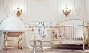 Victoria Style Carved Wooden Baby Crib,Elegant White & Gold Painted Baby Bedding Set,Noble Bedroom Furniture Child/Kid's Bed Set