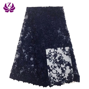 manufacturer woman bridal dress quality navy blue net market cord beaded embroidery lace fabric dubai