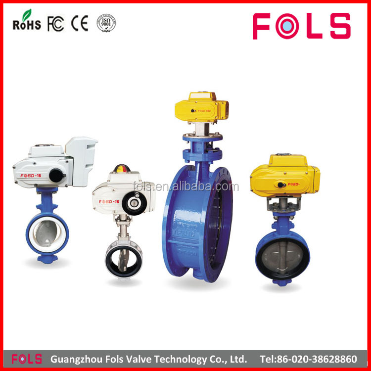 electric control rubber sealing PTFE butterfly valve for steam