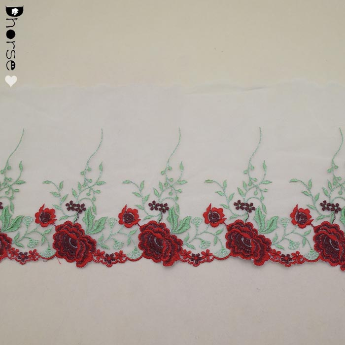 Wholesale Red Flowers Floral Embroidered Lace Net tulle Lace Trim Market in Guangzhou
