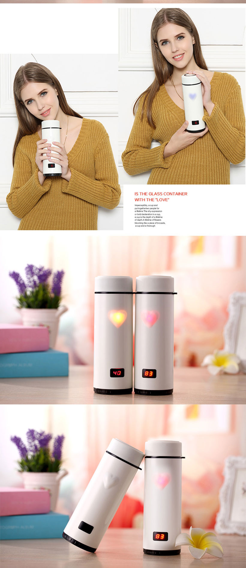 Touch heart cup / hot selling unique premium corporate gift set