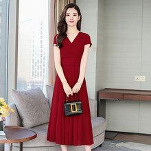 2020 элегантные однотонные шифоновые платья миди в стиле бохо, летние новые винтажные платья 4XL размера плюс, пляжный Макси Сарафан, женские о...(Китай)
