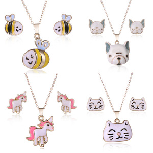 Pink Horse Unicorn Jewelry Sets Girl Animal Beer Accessories Kids Jewellery