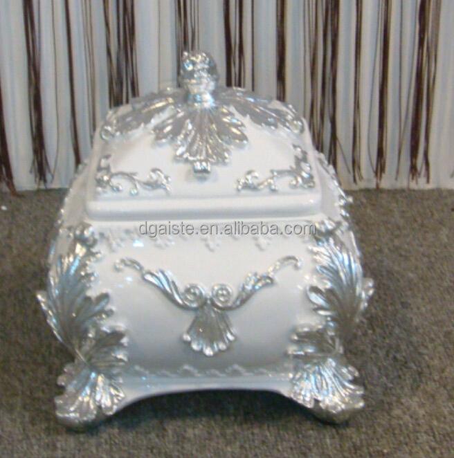 b cuadrado de plata y blanco brillante resina europea jarrn decorativo
