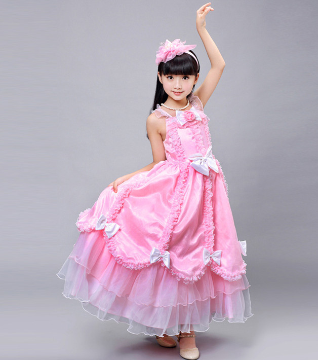 Wholesale pink girls boutique clothing flower doll cake dress , formal dancing dress