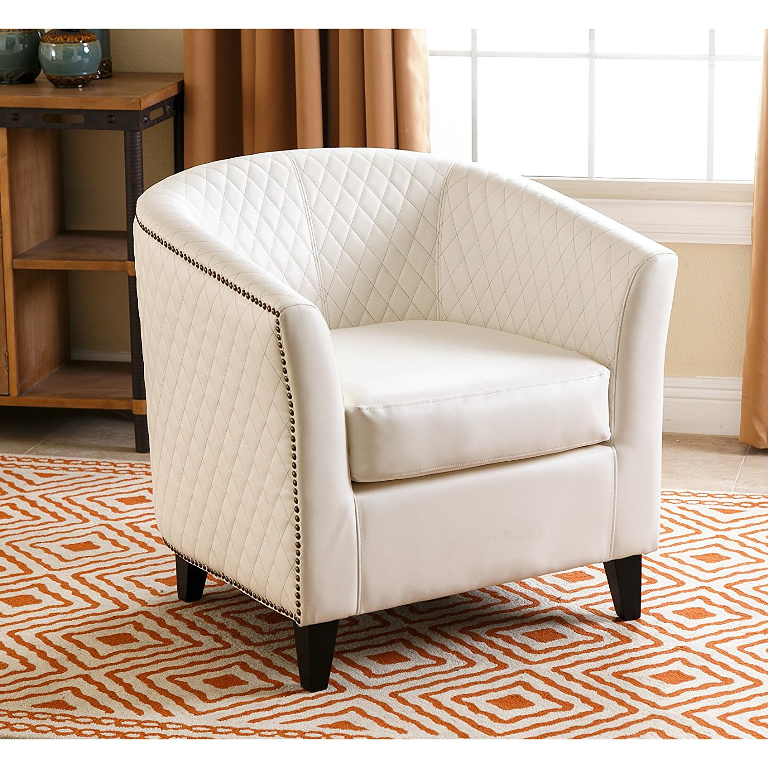 ABBYSON LIVING Charles White Tufted Quilted Leather Armchair