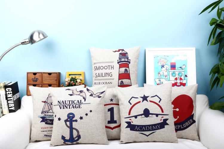 Free shipping throw pillow wedding decor linen fabric gift Hot sale 100% new 45cm Mediterranean sytle sofa cotton cushion cover