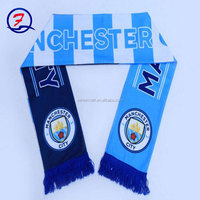Factory directly provide blue white football scarf football scarf