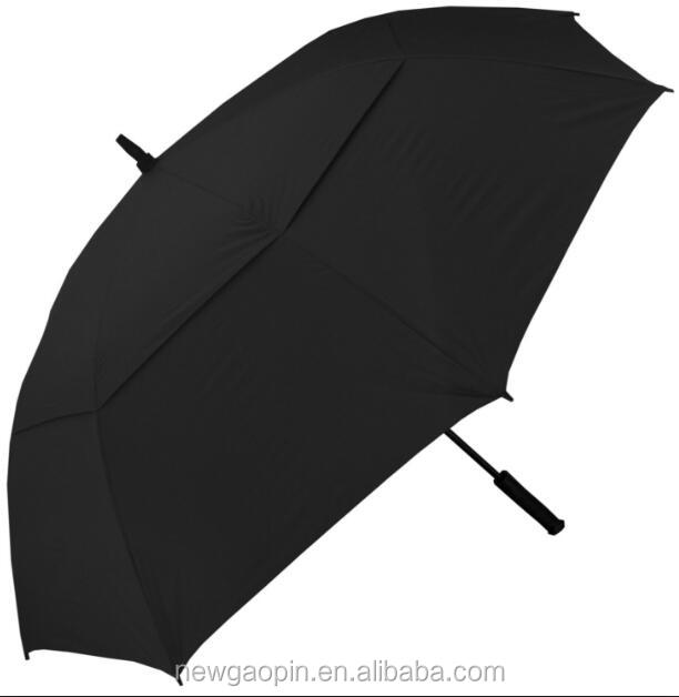 Black polyester fabric steel fiberglass double canopy windproof golf umbrella