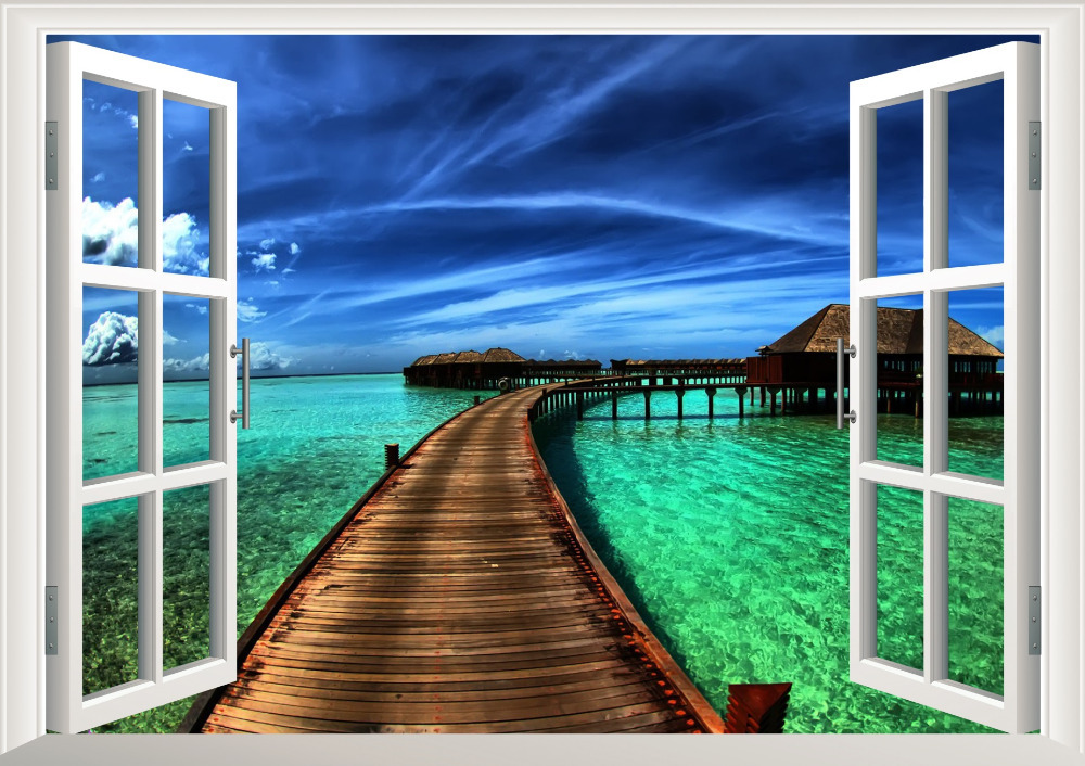 Natural scenery Resorts Bridge sea 3D Window Decal Home Decor View Removable Wall Art Sticker Vinyl wallpaper & Natural scenery Resorts Bridge sea 3D Window Decal Home Decor View ...