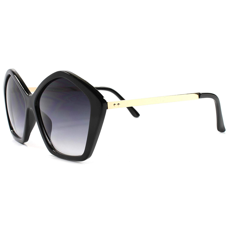 663df5df56a3 Get Quotations · Vintage Inspired Pentagon Shape Upscale Designer Womens  Sunglasses