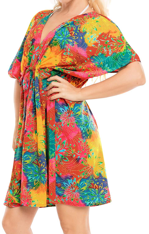 83b0f7e48db23 La Leela Bathing Suit Coverup Beach Bikini Swimwear Swimsuit Caftan Summer  Dresses Women Printed