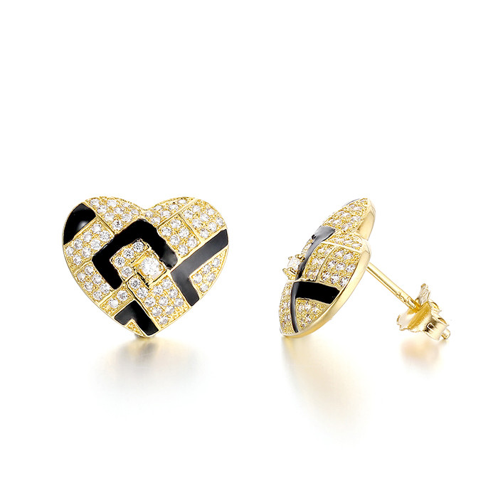 silver stud earring, factory direct good quality heart shaped stud earrings price OEM service jewelry