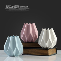 2017New style colorful ceramic origami shape flower vase for home decoration