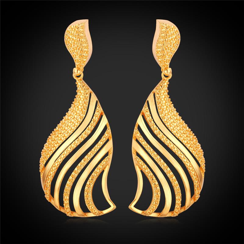 U7 Vintage Fancy Dangle Earing Women Latest Fashion Gold Earrings ...