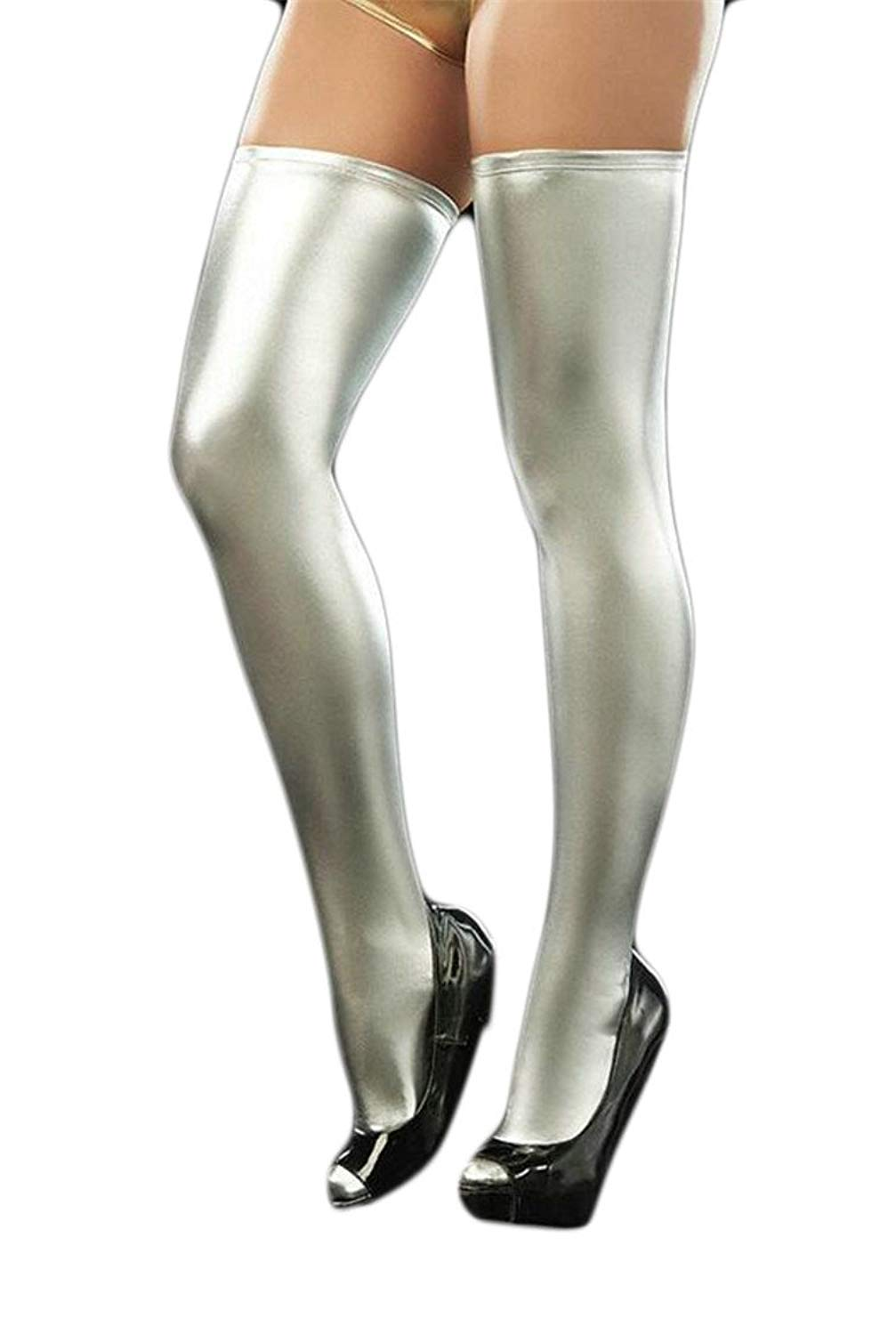 59e3b66630a Get Quotations · GAGA Women s Stylish Sexy PVC Leather Wet Look Tights  Thigh High Stockings