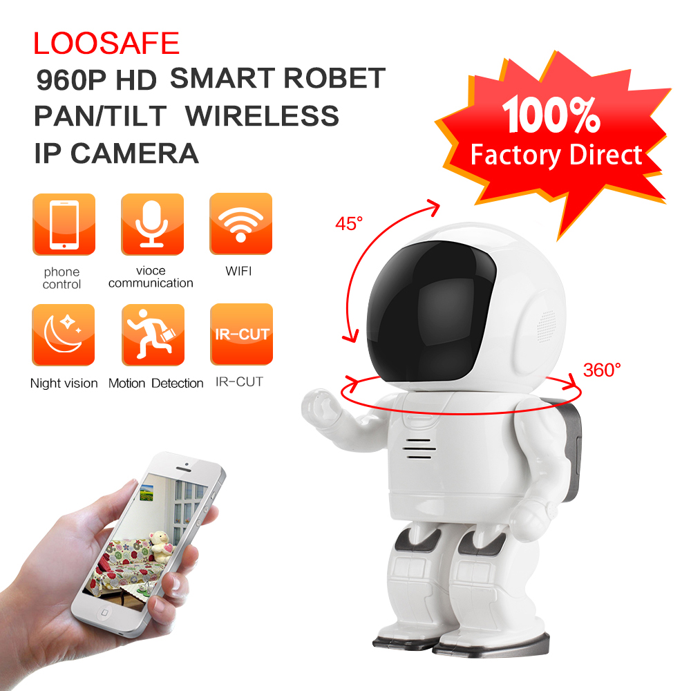 Loosafe HD 960p Wireless mini baby monitor two-way voice intercom p2p robot camera ip wifi for smart home security