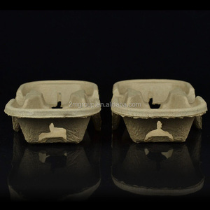 High quality custom made paper pulp coffee carry cup holder tray