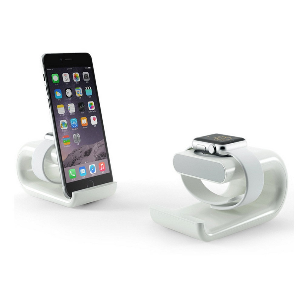 2 in 1 white charging dock for apple watch stand for iphone 6plus