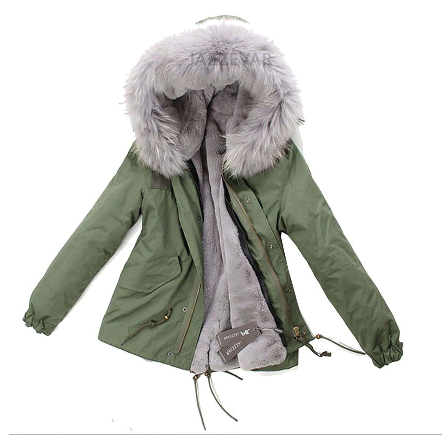 FLCH+YIGE Mens Winter Faux Fur Collar Mid-Long Hooded Down Jacket Thicken Wadded Coat