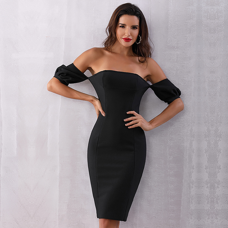 United 2017 Summer New Women Runway Bandage Dress Black Line Network Cut Out Shoulder Long Sleeve Celebrity Evening Party Dresses Women's Clothing