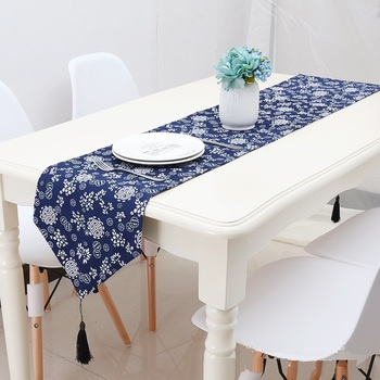 Wholesale Cheap Cotton Linen Custom Rustic Floral Print Mexican Royal Navy Blue Decoration Wedding Table Runners View Navy Blue Table Runner Lion