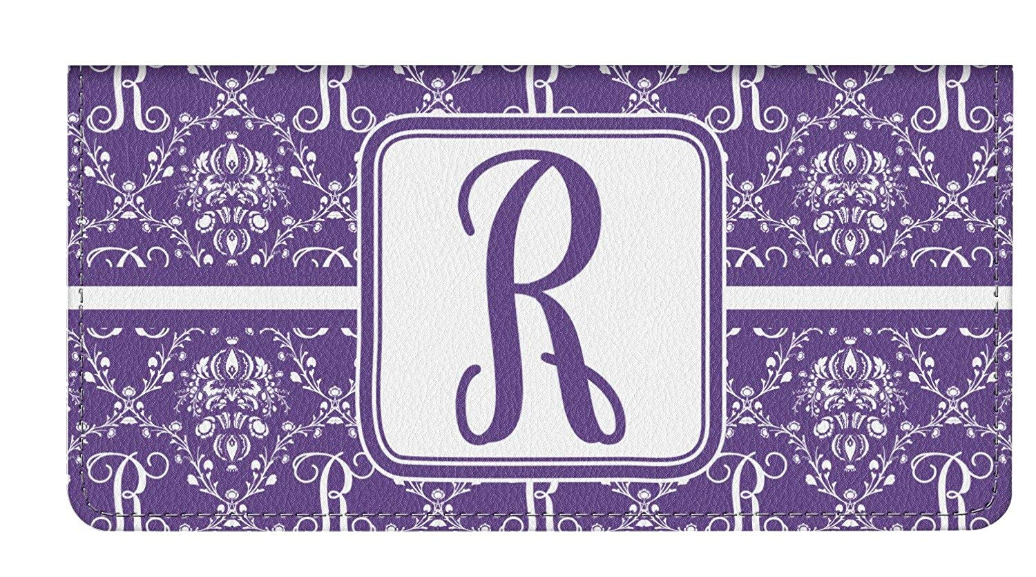 Pink /& Purple Damask Genuine Leather Checkbook Cover Personalized