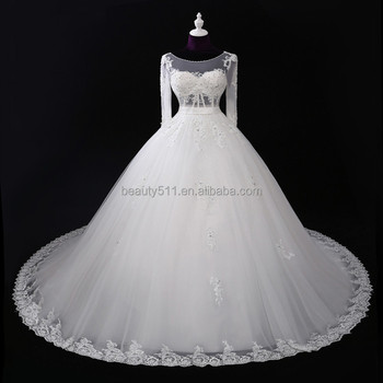 Supply All Kinds Of Wedding Dress 2017 Ball Gownwedding Gown Beaded Round Neck Long Sleeve Mermaid