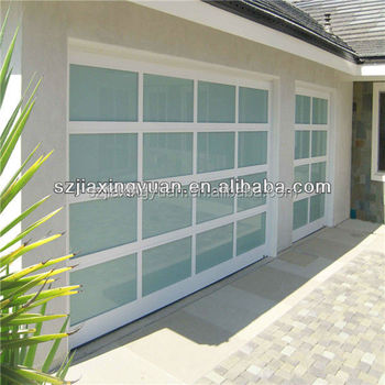 Transparent bungalow glass sectional garage door buy for Sectional glass garage door