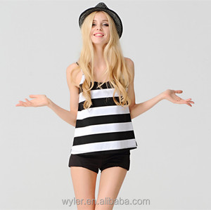 2015 Summer New Stripe Spaghetti Strap Loose Backless Sexy Women Vest