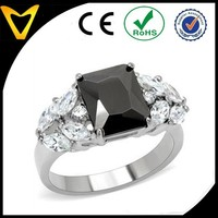 High Polished Stainless Steel Cocktail Ring with Big Black Solitaire Rectangle Cut CZ in Prong Setting and Marquise Cut Shape on