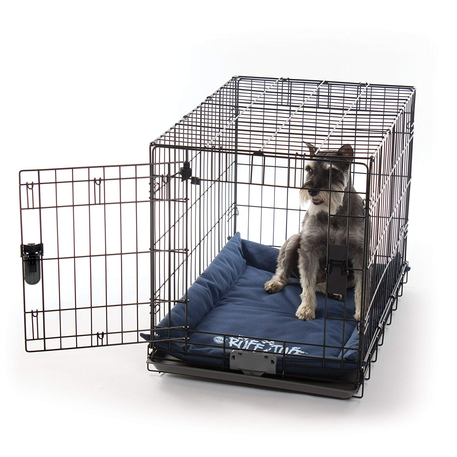 "K&H Pet Products K-9 Ruff n' Tuff Crate Pad Medium Navy Blue (21"" x 31"") - 1260 Denier Rip-Stop Polyester for Pets That Need Extra Tough Fabric"