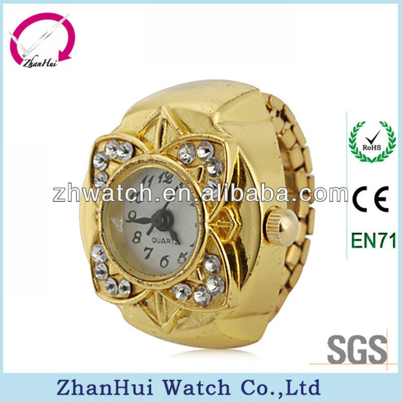 2013 fashion gold colors unique quartz ring watch lady crystal flower finger ring watch
