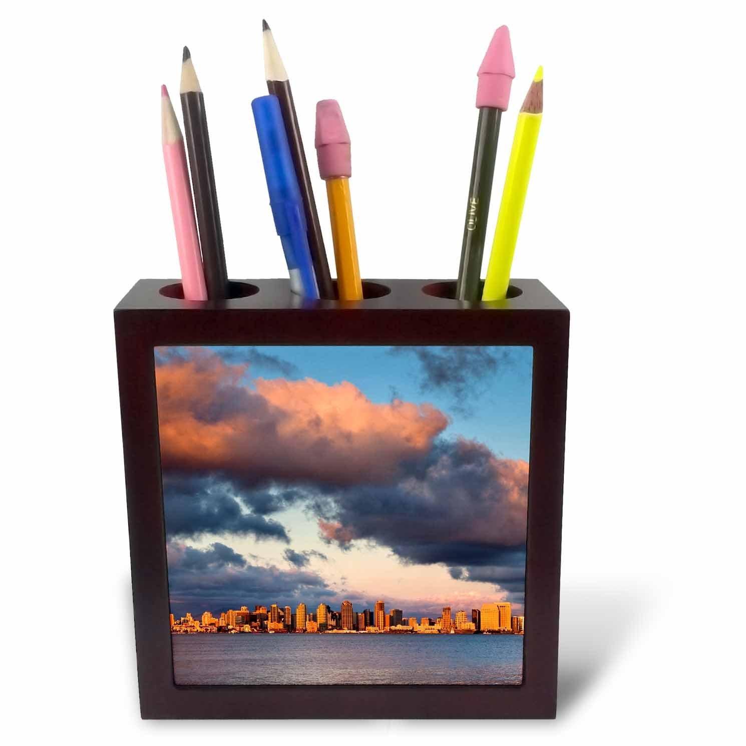 3dRose Danita Delimont - San Diego - California, San Diego, City skyline across San Diego Bay - 5 inch tile pen holder (ph_250630_1)