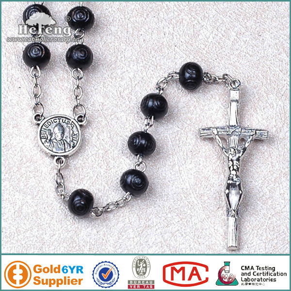 8mm black wooden rosary beads with alloy cross