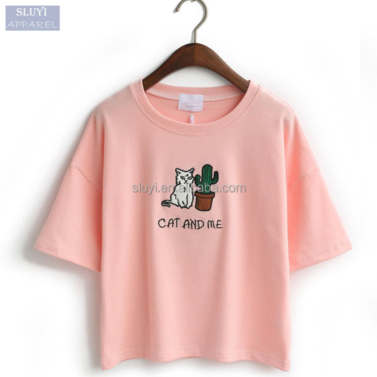 SLUYI branded t-shirt 2017 summer women loose custom embroidered t shirt short sleeve candy color 95 cotton /5 elastane t-shirt