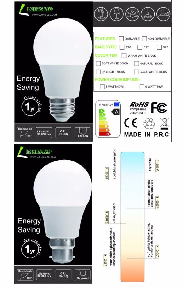 Pasar India Hot Sale CE RoHS LED Light Bulb E27 B22 3 W 5 W 6 W 9 W Epistar SMD 220 V AC Dimmable LED Bulb