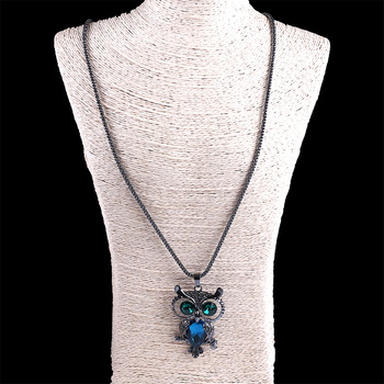 Daking Fashion Jewelry Owl Pendant Sweater Necklace With Zircon