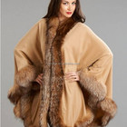 100% cashmere Camel woven shawl solide colour scarf with pure cashmere natural red fox fur