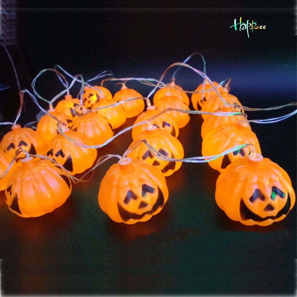 Happlee® Halloween Decoration Jack-O-Lantern, Pumpkin LED Flashing String Light Festival Party Decoration, String Light with 16 Pumpkin LEDs for Indoor/Outdoor, Holiday, Festival, Party Décor