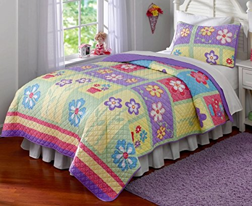 2 Piece Girls All Over Flower Themed Quilt Twin Set, Beautiful Pretty Floral Pattern Bedding, Patchwork Stripes Theme Design, Purple Yellow Green Blue Squares Rectangles, Adorable Cute