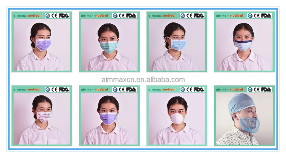 Blue Ply green 3 With white pink - Mask Mask Design Face kn90 Funny Buy Colors Disposable Surgical